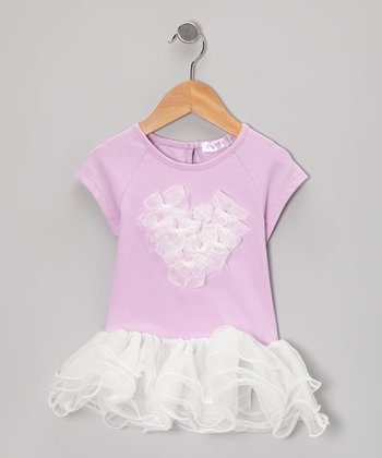 Purple Bow Heart Ruffle Top - Infant, Toddler & Girls