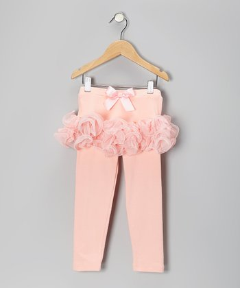 Peach Curly Skirted Leggings - Girls