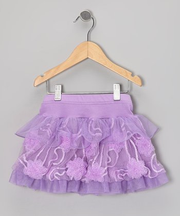 Purple Floral Tulle Layered Skirt - Infant