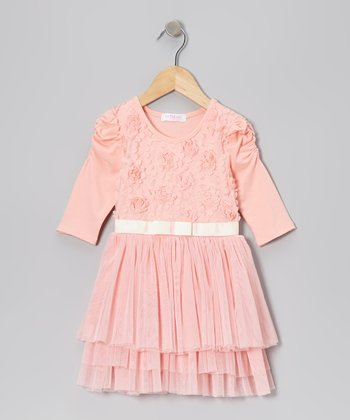 Peach Rosette Tulle Dress - Infant