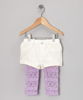 Ivory & Purple Lace Layered Shorts - Infant, Toddler & Girls
