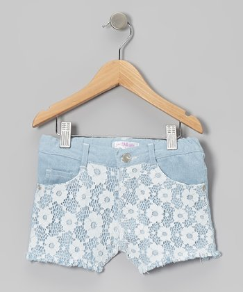 White Lace Denim Shorts - Toddler