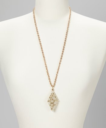 Silver Beaded Trapezoid Pendant Necklace
