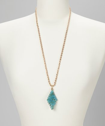 Blue Beaded Trapezoid Pendant Necklace