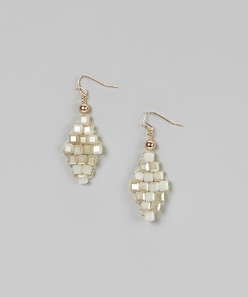 Silver Beaded Trapezoid Earrings