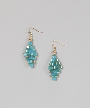 Blue Beaded Trapezoid Earrings