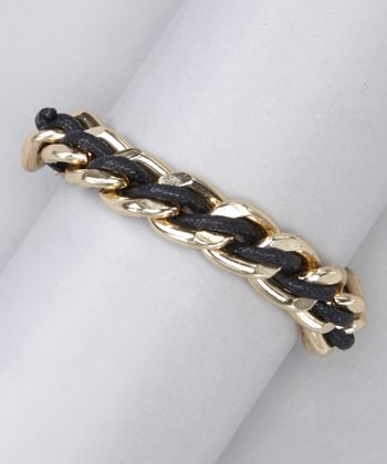 Black & Gold Braided Chain Link Bracelet