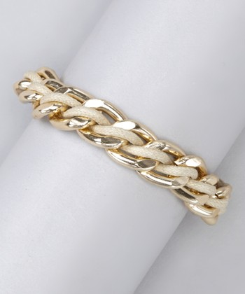 Beige & Gold Braided Chain Link Bracelet