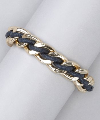 Navy & Gold Braided Chain Link Bracelet