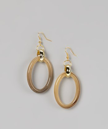 Beige & Brown Oval Cutout Earrings