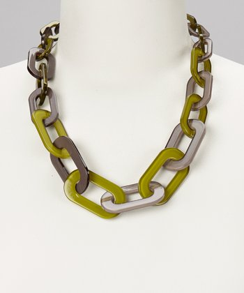 Green & Gray Oval Link Necklace