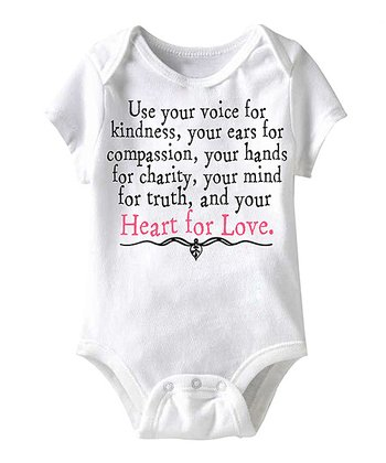 White 'Your Heart for Love' Bodysuit