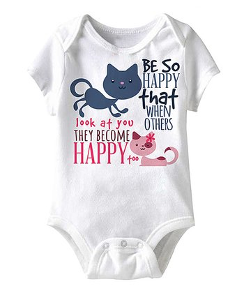 White 'Be So Happy' Cat Bodysuit - Infant
