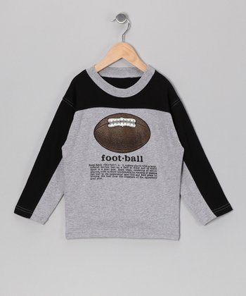Gray 'Football' Definition Long-Sleeve Tee - Boys