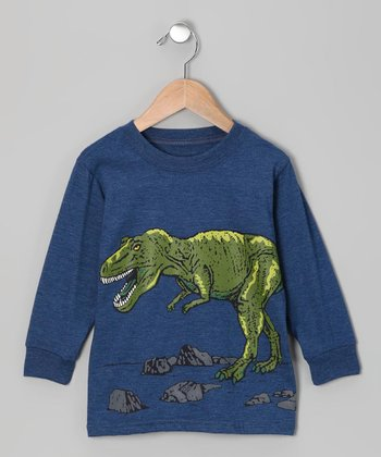 Dark Blue & Heather T-Rex Tee - Infant