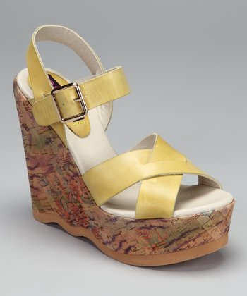 Yellow Vespa Wedge Sandal