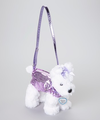 White & Purple Scotty Dog Purse