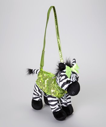 Black & Green Zena Zebra Purse