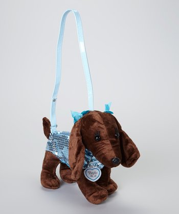 Brown & Blue Sequin Dachshund Purse