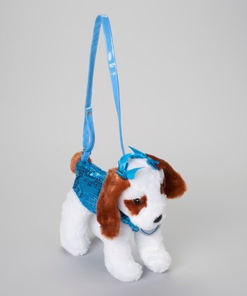 White & Turquoise Dog Purse