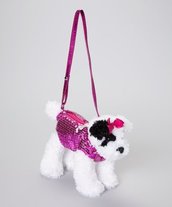 White & Pink Dog Purse