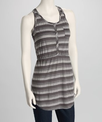 Gray Stripe Button Racerback Tank