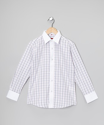 Pink & White Plaid Button-Up - Boys