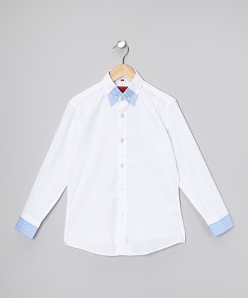 White & Blue Button-Up - Boys