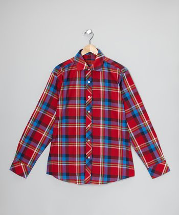 Red & Green Plaid Button-Up - Toddler & Boys