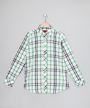Green & White Plaid Button-Up - Toddler & Boys