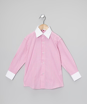 Pink & White Gingham Button-Up - Toddler, Boys & Men