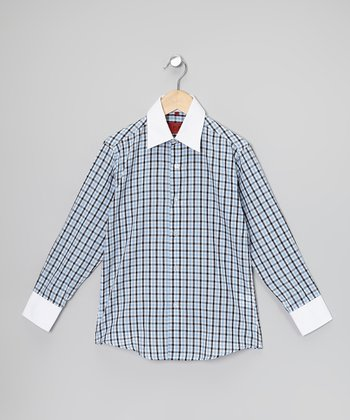 Baby Blue & Navy Plaid Button-Up - Toddler, Boys & Men