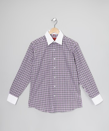 Purple & White Plaid Button-Up - Toddler, Boys & Men
