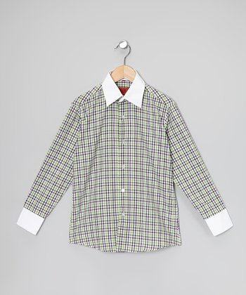 Apple Green Plaid Button-Up - Boys & Men