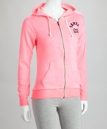 Pink Burnout Zip-Up Hoodie