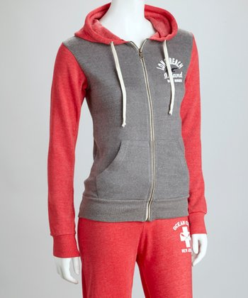 Red 'Long Beach' Raglan Zip-Up Hoodie