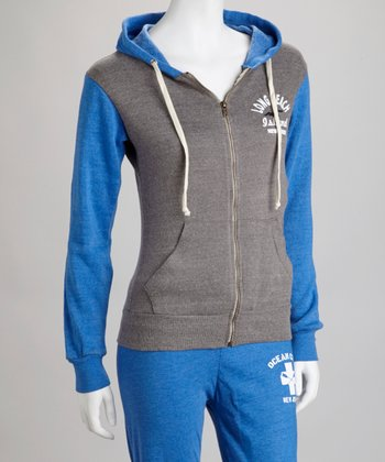 Royal 'Long Beach' Raglan Zip-Up Hoodie