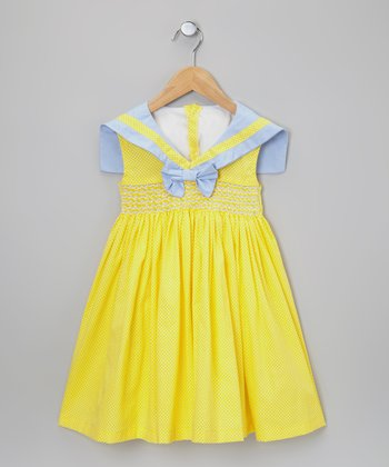 Yellow & Blue Smocked Sailor Dress - Infant & Toddler