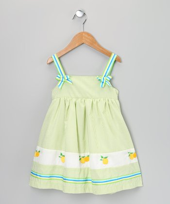 Green & Blue Stripe Lemon Dress - Infant, Toddler & Girls