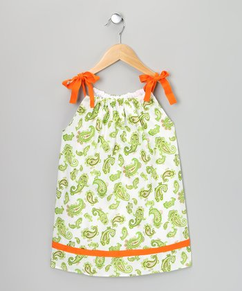 Green & Orange Paisley Ribbon Dress - Infant, Toddler & Girls