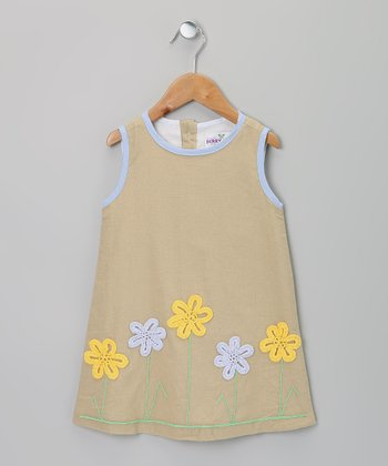 Gray & Yellow Linen Flower Dress - Infant, Toddler & Girls