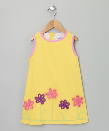 Yellow & Pink Linen Flower Dress - Infant, Toddler & Girls