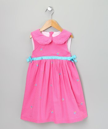 Hot Pink & Blue Rose Dress - Infant, Toddler & Girls
