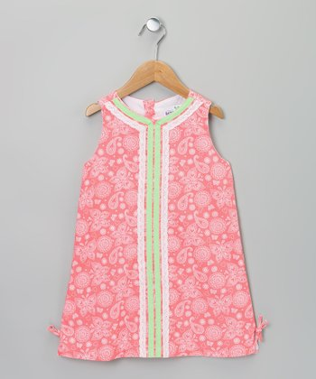 Pink & Green Paisley Lace Dress - Infant, Toddler & Girls