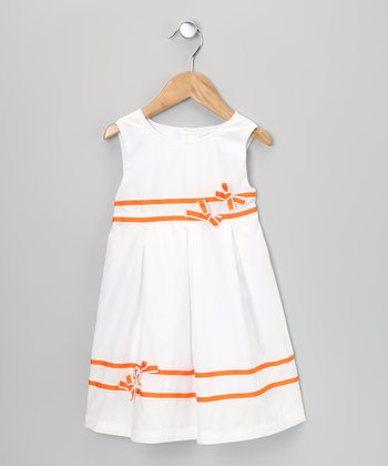 White & Orange Bow Dress - Infant, Toddler & Girls