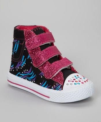 Black & Fuchsia Adjustable Hi-Top Sneaker