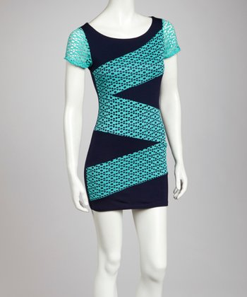 Navy & Aqua Color Block Short-Sleeve Dress