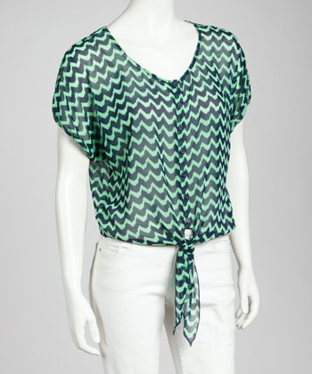 Mint & Navy Zigzag Tie-Front Top