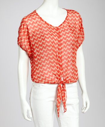 Orange & Stone Zigzag Tie-Front Top