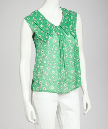 Green & Pink Layered Collar Tie Top